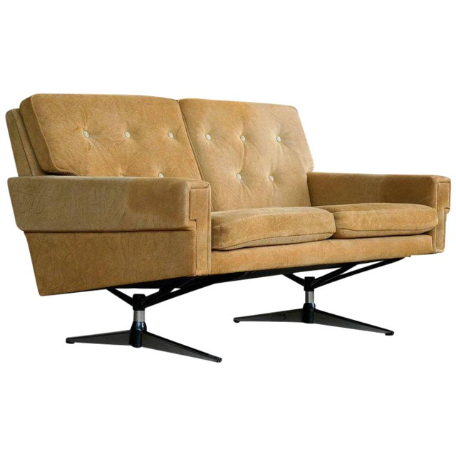 Svend Skipper Attributed Airport-Style Suede Two-Seat Sofa or Settee - Image 1 of 7