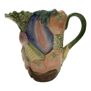 Vintage Hand Painted Fitz & Floyd Ceramic 'Vegetable Garden' Pitcher For Sale