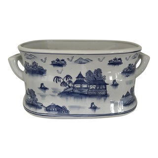 Blue & White Pagoda Chinese Foot Bath