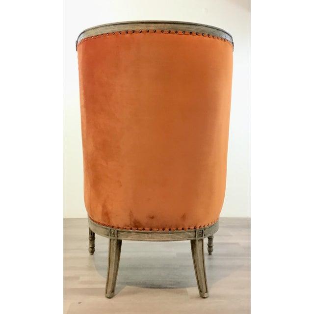 French Style Modern Orange Velvet High Back Lounge Chair For Sale In Atlanta - Image 6 of 8