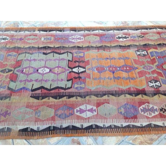 Vintage Turkish Kilim Rug - 5′2″ × 12′6″ For Sale - Image 4 of 6