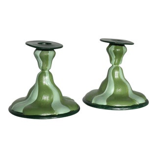 Hand Painted Silver Striped Swirl Candlesticks - Pair For Sale