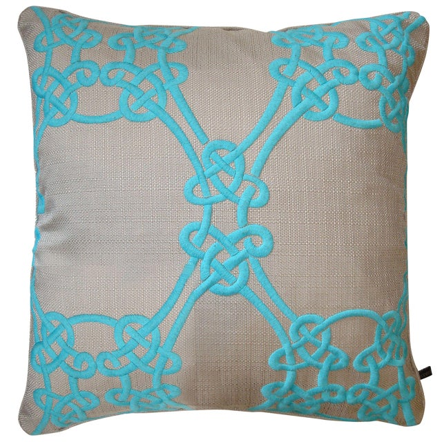 Turquoise Embroidered Down Pillow For Sale