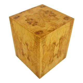 Mid-Century Modern Milo Baughman Burl Wood Cube Pedestal Side End Table, 1970s For Sale