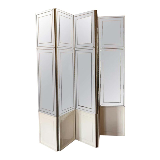 Vintage Modern Mirrored Folding Screen Room Divider For Sale