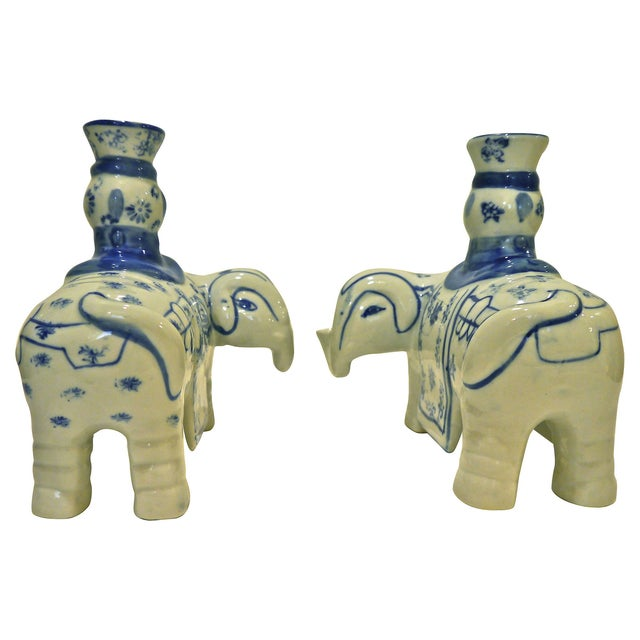 Blue & White Elephant Candleholders - A Pair - Image 6 of 6