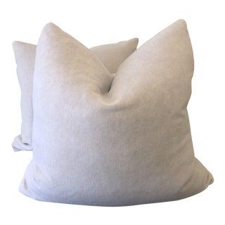 """Custom Rose Quartz Mohair 22"""" Pillows-A Pair For Sale"""