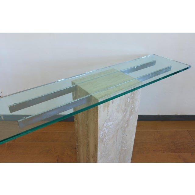 Vintage Travertine Console Table For Sale In Los Angeles - Image 6 of 8