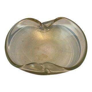 1960s Regency Gold Fleck Murano Decorative Art Glass Bowl For Sale