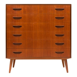 1960s Vintage Danish Mid-Century Six Drawer Teak Tallboy For Sale