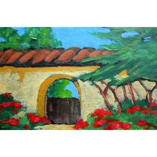 Contemporary California Adobe Garden Gate Plein Air Landscape For Sale
