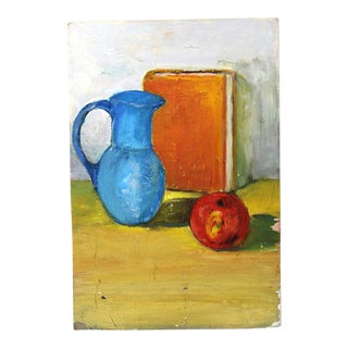 Mid-Century Still Life Oil Pastel Painting For Sale