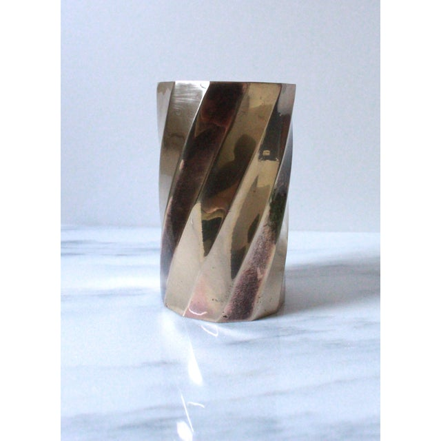 Solid Brass Cylinder Vase With Twist Design - Image 5 of 5
