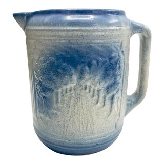 19th Century Cottage Path Through Trees Salt Glaze Pitcher For Sale