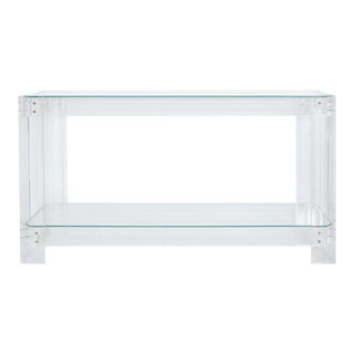Elle Transparent Acrylic and Glass Minimalist Console Table For Sale