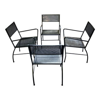 Mid Century Modern Aluminium Patio Chairs—Set of 4 For Sale