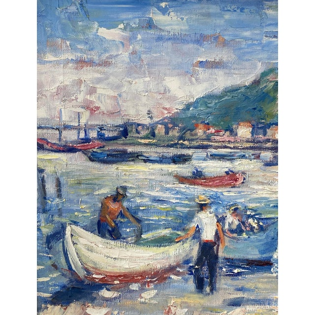 """French Midcentury French Oil Painting on Canvas, """"Saint-Tropez, France"""" - 1962 For Sale - Image 3 of 13"""