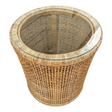 Image of 1970s Boho Chic Rattan Side Table For Sale