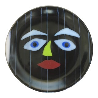Vintage Hand Painted Abstract Ceramic Face Plate For Sale