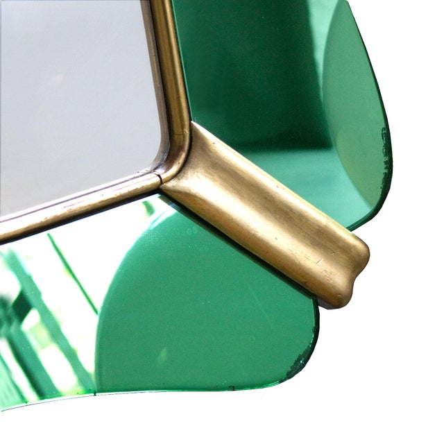 1950s 1950´s Large Mirror, Green Mirrors Frame and Golden Leaf Wood - Italy For Sale - Image 5 of 8