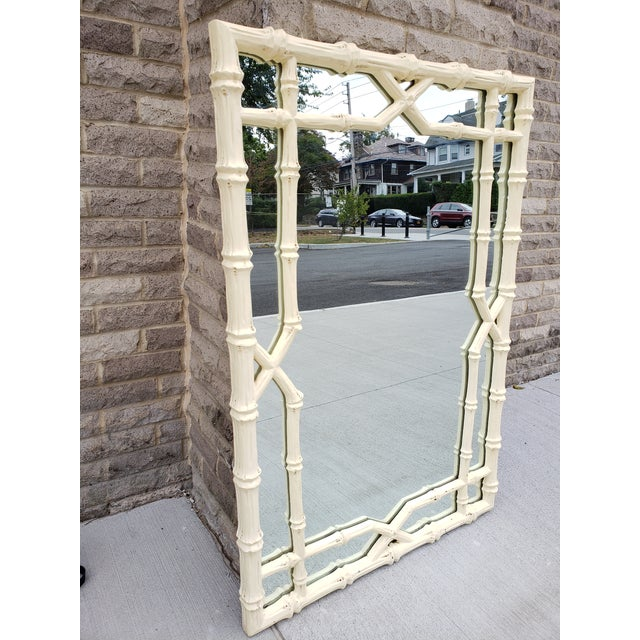 Asian Large Faux Bamboo Hollywood Regency Painted Mirror For Sale - Image 3 of 13