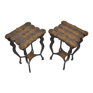 Antique Arts & Crafts Flemish Pyrographic Carved End Tables - A Pair