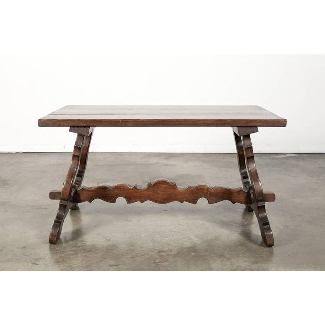 Mediterranean Antique Spanish Colonial Style Oak Coffee Table For Sale - Image 3 of 10