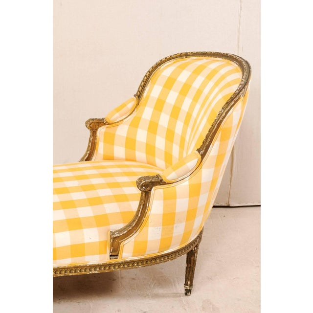 Wood Turn of the Century French Louis XVI Style Chaise For Sale - Image 7 of 11