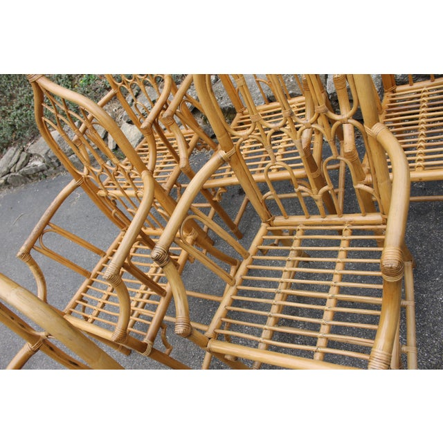 1970s McGuire Style Rattan Bamboo Gothic Cathedral Chairs All Arm Chairs - Set of 2 For Sale In Cincinnati - Image 6 of 12