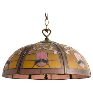 1940s Leaded Glass Light Fixture For Sale