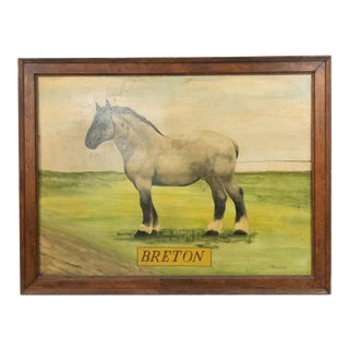 American Country Horse Breton Painting For Sale