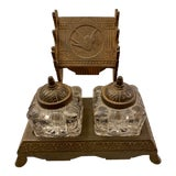 Image of 1877 Victorian Cast Iron and Pressed Glass Double Inkwell For Sale