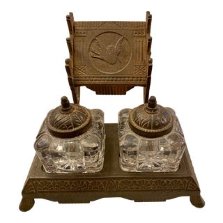 1877 Victorian Cast Iron and Pressed Glass Double Inkwell For Sale