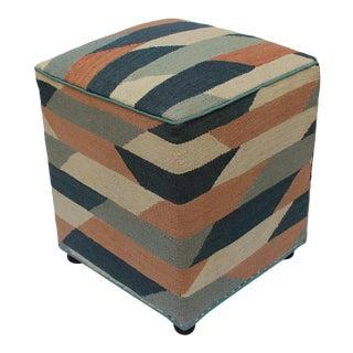Boho Chic Shelley Ivory/Grey Handmade Kilim Upholstered Ottoman For Sale
