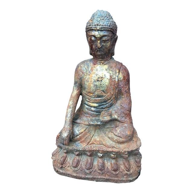 weathered cast iron gold leaf buddha statue chairish