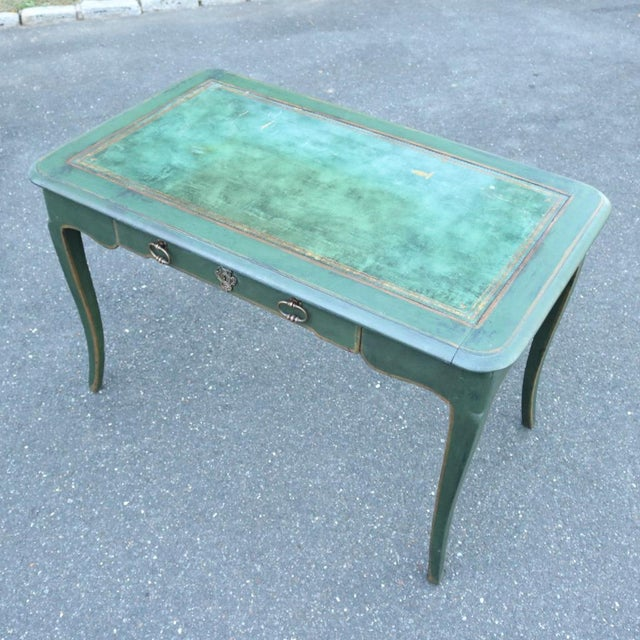 Green Antique French Provincial Leather Top Desk - Image 4 of 11