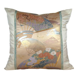 Pastel Floral Fans Japanese Silk Obi Pillow Cover For Sale