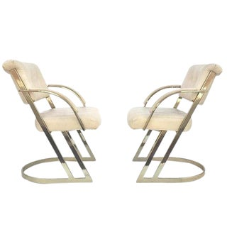 Vintage Brass & Leather Z Chairs Ivory Leather Cantilever Style Arm Chairs - a Pair For Sale