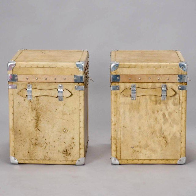 Pair of Reconditioned English Vellum and Chrome Trunks - Image 7 of 9