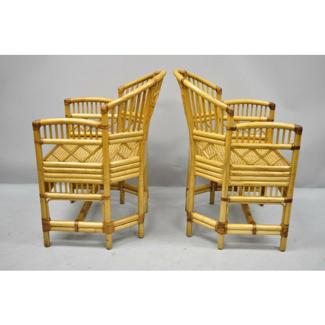 Chippendale Vintage Brighton Pavilion Style Bamboo & Cane Rattan Arm Chairs - A Pair For Sale - Image 3 of 12