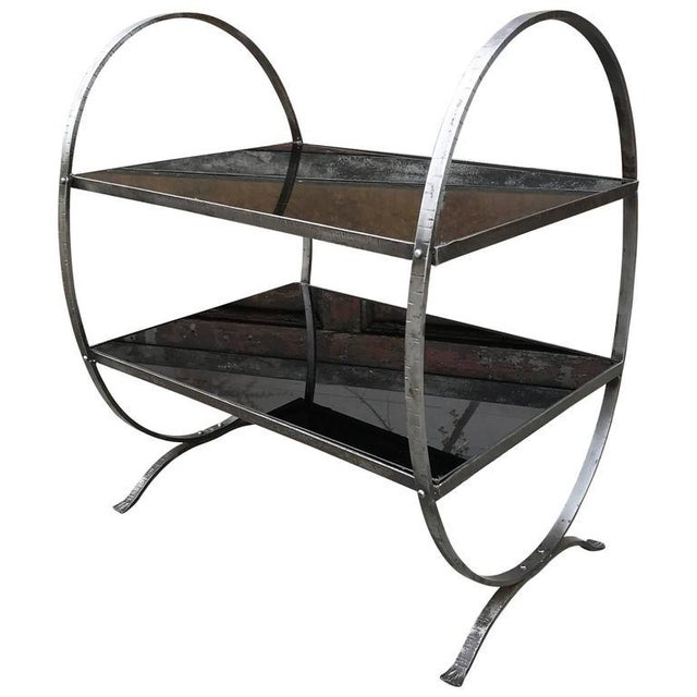 1930s Art Deco Etched Steel and Cobalt Glass Two-Tier Side Table For Sale - Image 9 of 9
