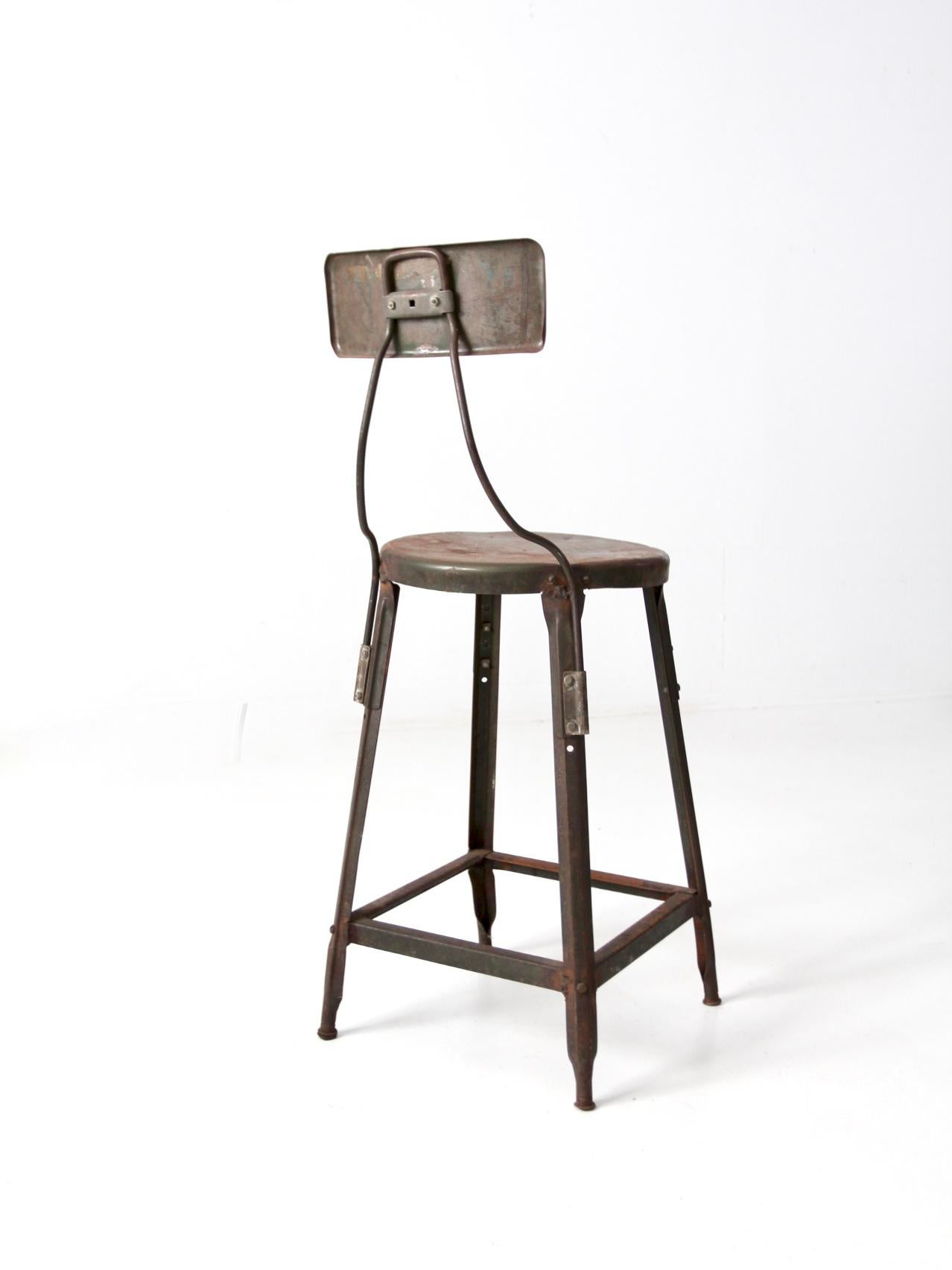 Inspirational Industrial Drafting Stool with Back