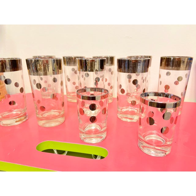 1960s Dorothy Thorpe Silver Polka Dot Tumbler Glasses - Set of 11 For Sale - Image 5 of 7