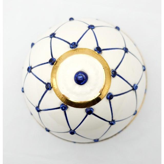 "Sigma L2 Italian Ceramic Rete Blue and Gilt Bronze ""Egg Form"" Covered Boxes For Sale In Miami - Image 6 of 10"