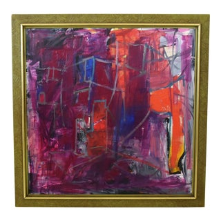 Juan Guzman Modern Colorful Abstract Oil Painting For Sale