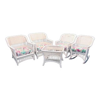 Early 20th Century Vintage White Wicker With Floral Seats Patio Set - 5 Pieces For Sale