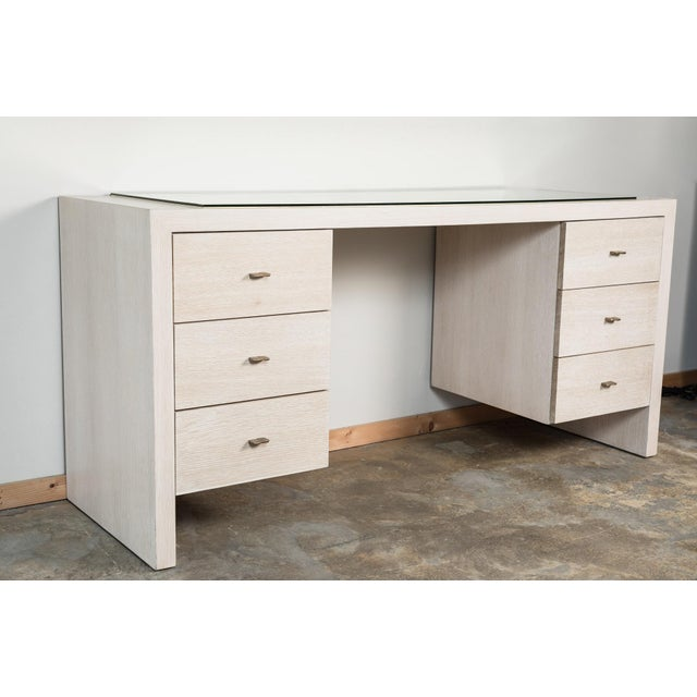 Modern Desk in Bleached Oak with Brass For Sale - Image 9 of 9