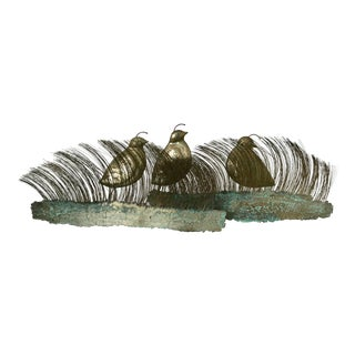 Bijan Mid-Century Brutalist Metal Art Quail Wall Sculpture For Sale