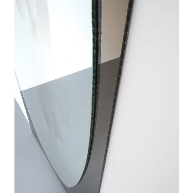 Mid-Century Modern Full Length Artisan Vintage Duo Colored Glass Mirror by Cristal Arte, Torino For Sale - Image 3 of 6