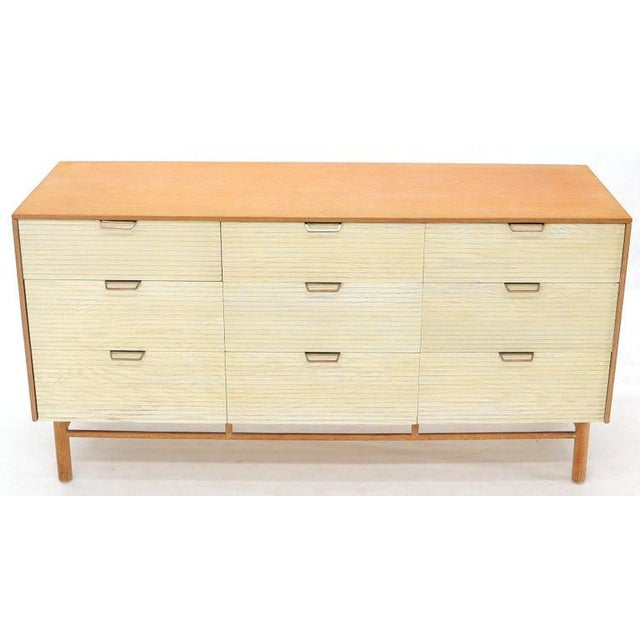 Two Tone Nine Drawer Cerused Oak Long Dresser Credenza by Mengel For Sale - Image 10 of 13